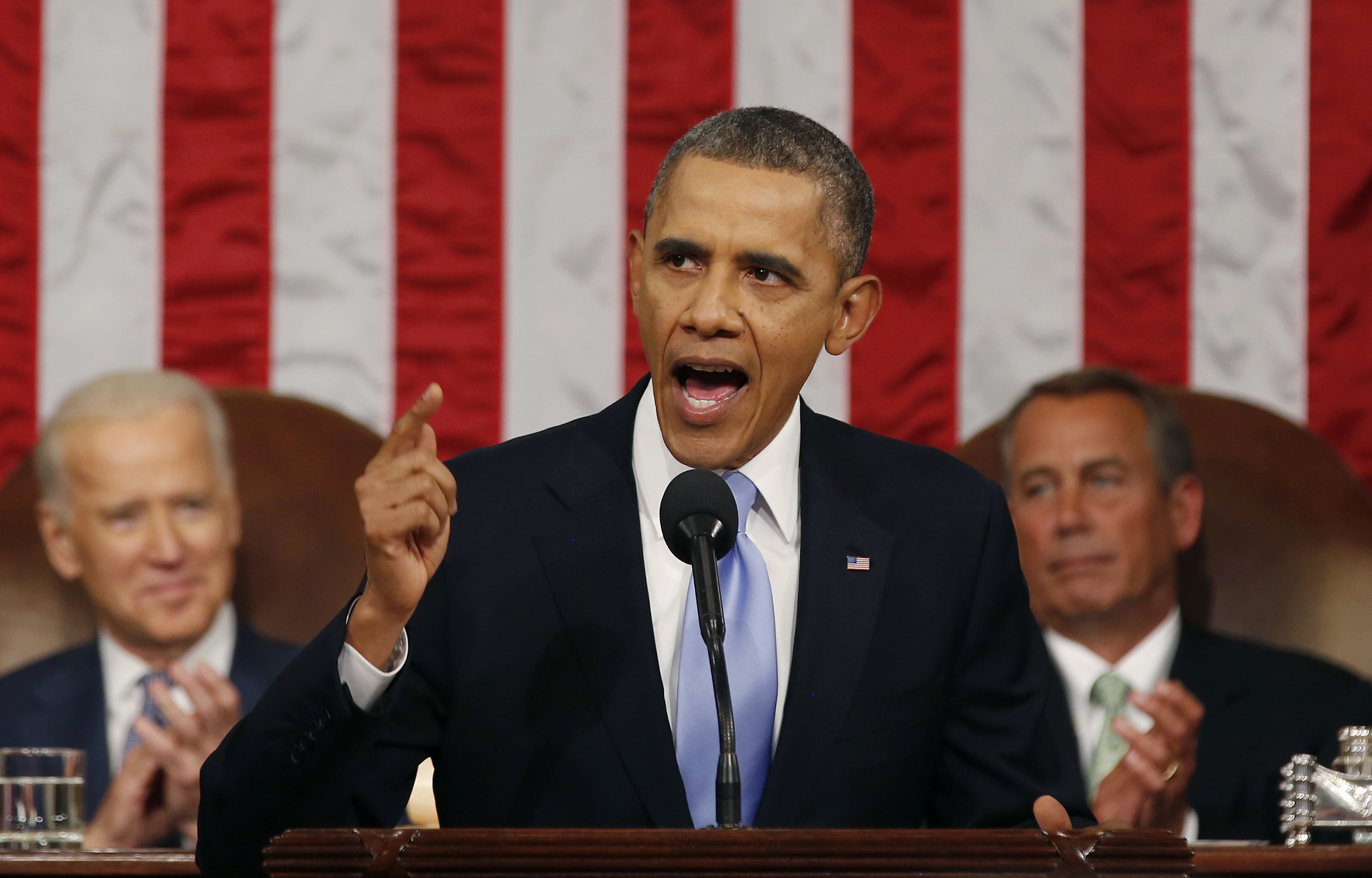 President Barack Obama delivering his State of the Union address on January 28, 2014.